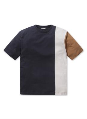 남성 블록 반팔 티셔츠 _ (NV)