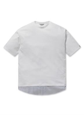 밑단 셔츠 배색 반팔 티셔츠