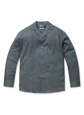 린넨 레이온 세미오버핏 오픈카라 셔츠