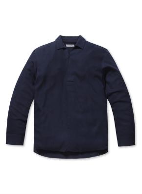 폴리 혼방 세미오버핏 반오픈 셔츠
