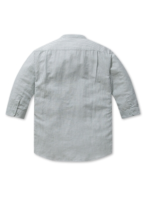 린넨 코튼 밴드카라 7부 셔츠