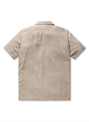 레이온 오픈카라 세미오버핏 반팔 셔츠