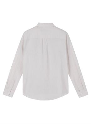 여성 린넨 코튼 기본카라 긴팔 셔츠