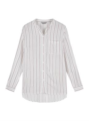 여성 레이온 노카라 스트라이프 셔츠