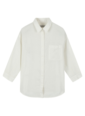 여성 코튼 레이온 혼방 세미오버핏 7부 셔츠