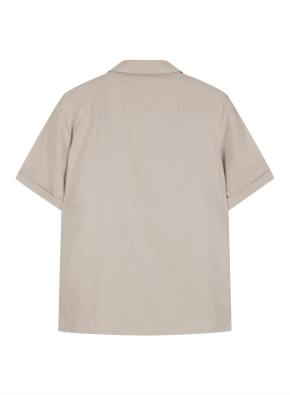 여성 린넨 레이온 혼방 오픈카라 반팔 셔츠