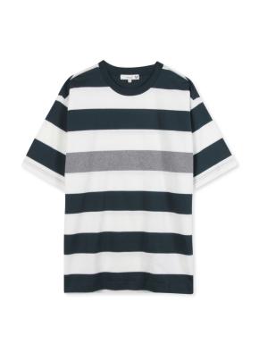 남성 스트라이프 5부 티셔츠 _ (GN)