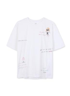 여성 자수 그래픽 반팔 티셔츠 _ (WT)