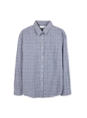 여성 패턴 체크 셔츠 _ (NV)