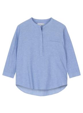 여성 헨리넥 풀오버 7부 셔츠 _ (BL)