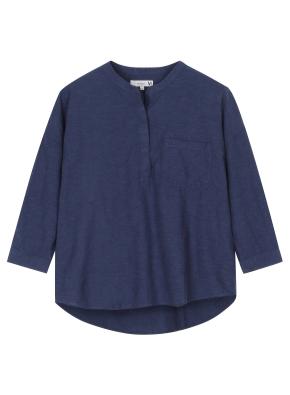 여성 헨리넥 풀오버 7부 셔츠 _ (NV)