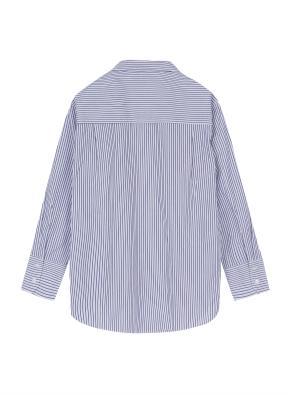 여성 오버핏 스트라이프 셔츠 _ (BL)