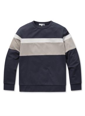 남성 컬러 블록 맨투맨 티셔츠  _ (NV)