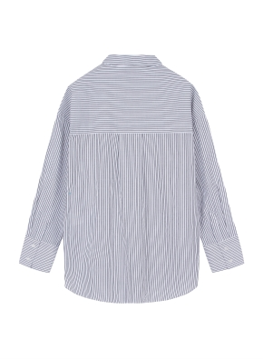 여성 포플린 스트라이프 롱 셔츠  _ (BK)