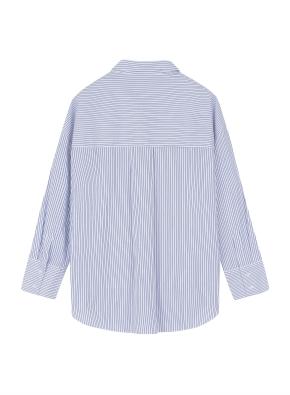 여성 포플린 스트라이프 롱 셔츠  _ (BL)