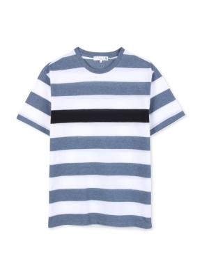 남성 보더 스트라이프 5부 티셔츠 _ (BL)