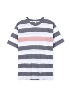 남성 보더 스트라이프 5부 티셔츠 _ (GR)