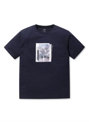 남성 핫썸머 야자수 그래픽 티셔츠 _ (NV)