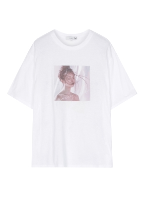 여성 린넨 그래픽 티셔츠