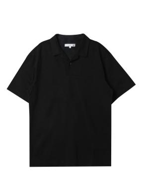 남성 슬럽 오픈 카라 티셔츠 _ (BK)