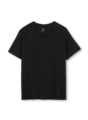 남성 슬럽 브이넥 반팔 티셔츠 _ (BK)