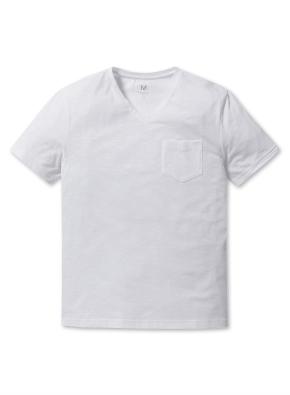 남성 슬럽 V넥 포켓 반팔 티셔츠 _ (WT)