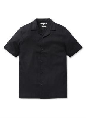 남성 오픈 카라 솔리드 셔츠 _ (BK)