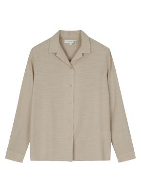 여성 오픈형 솔리드 슬럽 셔츠 _ (BE)
