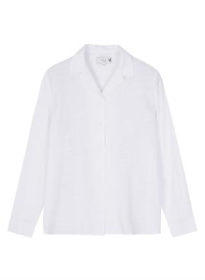 여성 오픈형 솔리드 슬럽 셔츠 _ (WT)