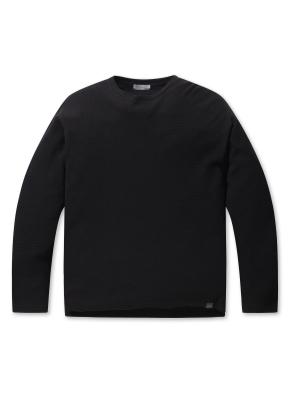 남성 와플 조직 라운드 티셔츠 _ (BK)