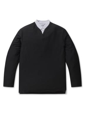 남성 싱글 슬릿 티셔츠 _ (BK)