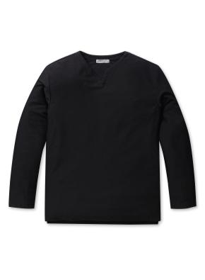 남성 슬럽 테리 슬릿 티셔츠 _ (BK)