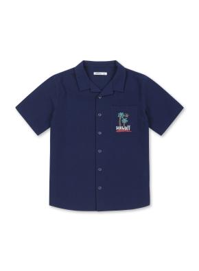 남아) 시어서커 자수포인트 반팔 셔츠 (NV)