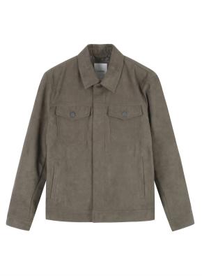 남성) 폴리 스웨이드 트러커 재킷 (KH)