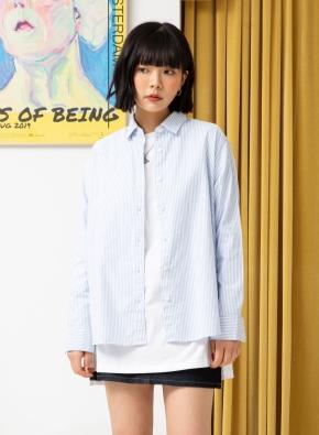 여성) 코튼 옥스포드 오버핏 긴팔 셔츠 (SBL)