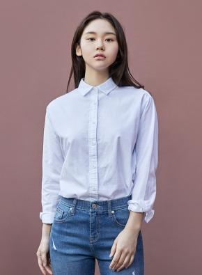 여성) 코튼 옥스포드 오버핏 긴팔 셔츠 (WT)