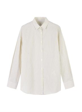 여성) 코튼 포플린 오버핏 긴팔 셔츠 (SYE)