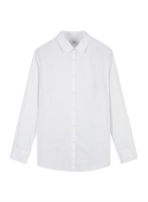 여성) 코튼 포플린 오버핏 긴팔 셔츠 (WT)