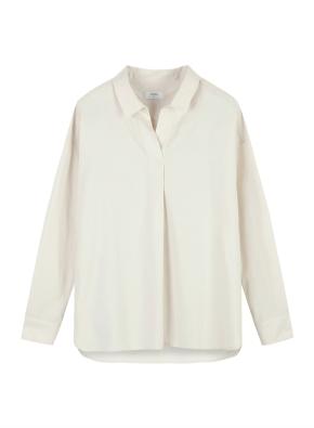 여성) 코튼 포플린 오픈카라 루즈핏 긴팔 셔츠 (BE)