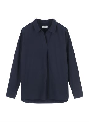 여성) 코튼 포플린 오픈카라 루즈핏 긴팔 셔츠 (NV)