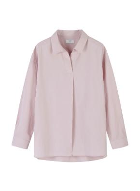 여성) 코튼 포플린 오픈카라 루즈핏 긴팔 셔츠 (PK)