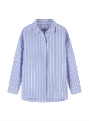 여성) 코튼 포플린 오픈카라 루즈핏 긴팔 셔츠 (SBL)