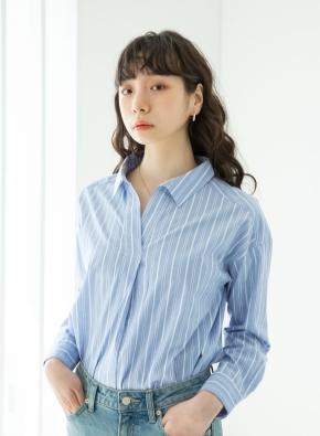 여성) 코튼 포플린 오픈카라 루즈핏 긴팔 셔츠