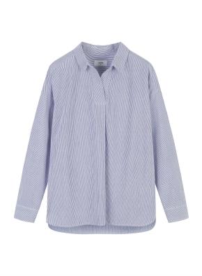 여성) 코튼 포플린 오픈카라 루즈핏 긴팔 셔츠 (SNV)