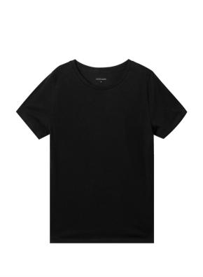 여성) 컴팩트 코튼 크루넥 반팔 티셔츠 (BK)