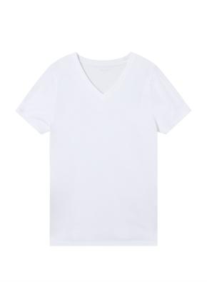 여성) 컴팩트 코튼 브이넥 반팔 티셔츠