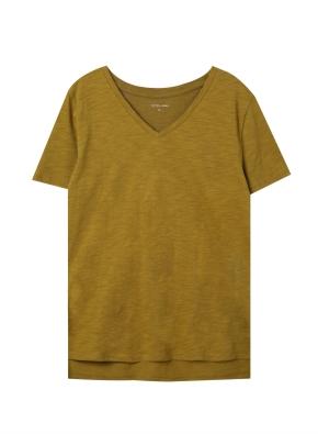 여성) 슬럽 브이넥 반팔 티셔츠