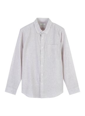 남성) 리넨 코튼 버튼다운 긴팔 셔츠 (BE)