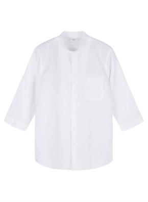 남성) 리넨 코튼 밴드카라 7부 셔츠