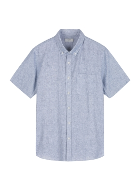남성) 리넨 코튼 버튼다운 반팔 셔츠